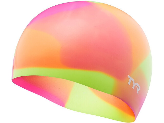 TYR Tie Dye Silicone Swim Cap Barn yellow/pink/orange